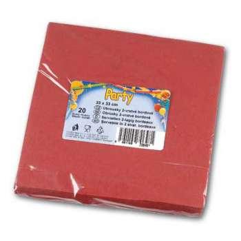 Papírové ubrousky - dvouvrstvé, bordó, 20 ks