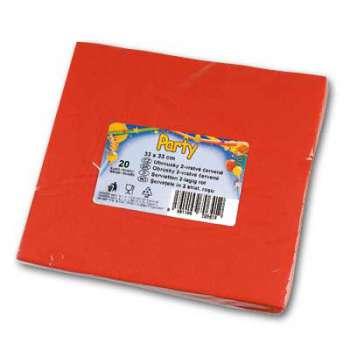 Papírové ubrousky - dvouvrstvé, červené, 20 ks