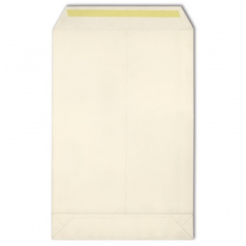 Obchodní tašky s křížovým dnem - B4, samolepicí, s krycí páskou, bílé, 400 ks