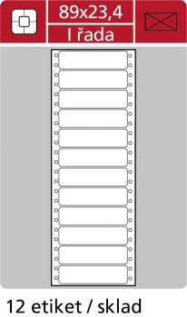 Samolepicí tabelační etikety SK Label - jednořadé, 89,0 x 23,4 mm, 6 000 ks