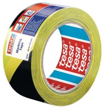 Značkovací páska Tesa - samolepicí, 50 mm x 33 m, žlutá/černá