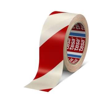 Značkovací páska Tesa - samolepicí, 50 mm x 33 m, červená/bílá