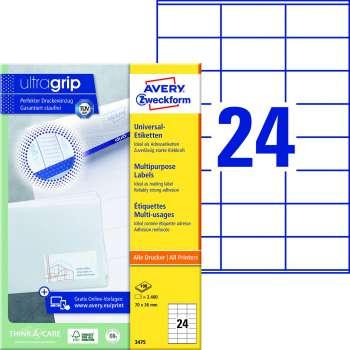 Samolepicí etikety Avery - 70,0 x 36,0 mm, 2400 etiket