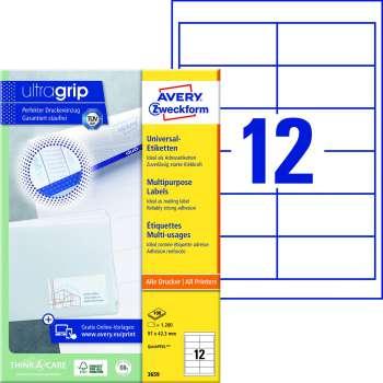 Samolepicí etikety Avery Zweckform - 97,0 x 42,3 mm, 1200 etiket
