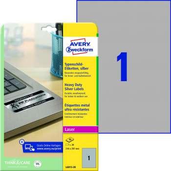 Samolepicí vodovzdorné etikety Avery - stříbrné, 210 x 297 mm, 20 ks