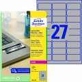 Samolepicí etikety polyesterové - stříbrná,  velmi odolné, 63,5 x 29,6 mm, 540 ks