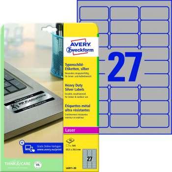 Samolepicí vodovzdorné etikety Avery - stříbrné, 63,5 x 29,6 mm, 540 ks