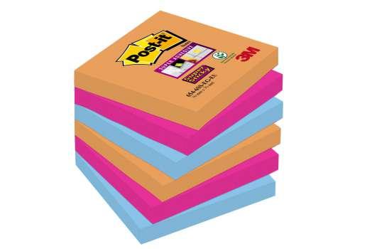 Poznámkové samolepicí bločky Post-it Super Sticky Bangkok - 3 barvy, 7,6 x 7,6 cm, 6 ks