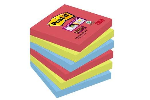 Poznámkové samolepicí bločky Post-it Super Sticky Bora Bora - 3 barvy, 7,6 x 7,6 cm, 6 ks
