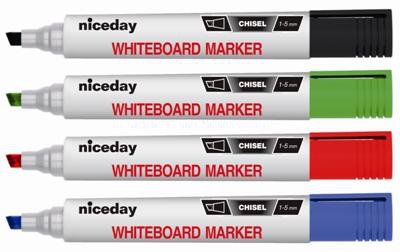 Popisovač na smazatelné tabule Niceday - mix barev, zkosený hrot, sada 4 ks