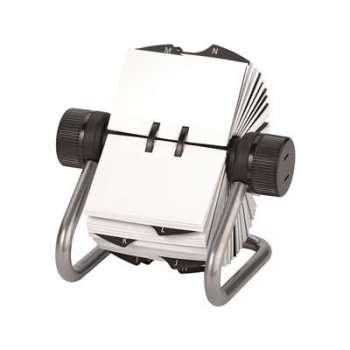 Otočný vizitkář Office Depot - 500 popisovatelných karet, stříbrný