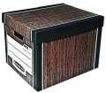 Archivační krabice Woodgrain - hnědé, s víkem, 34 x 29,5 x 40,5 cm, 2 ks