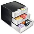 Stolní organizér CEP se zásuvkami - plastový, 4 zásuvky, černá/šedá