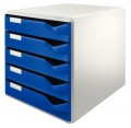 Box zásuvkový Leitz, 5 zásuvek, modrá/šedá