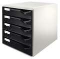 Zásuvkový box Leitz, 5 zásuvek, černá/šedá