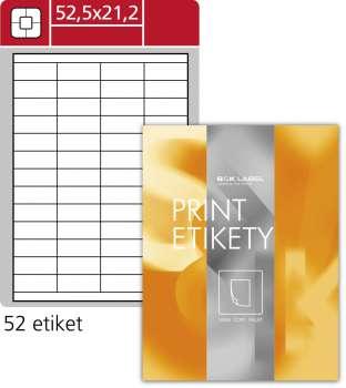 Samolepicí snímatelné etikety SK Label- 52,5 x 21,2mm, 5 200 ks