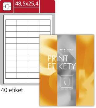 Samolepicí snímatelné etikety SK Label - bílé, 48,5 x 25,4 mm, 4 000 ks