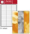 Samolepicí snímatelné etikety SK Label - bílá, 70,0 x 16,9 mm, 5 100 ks