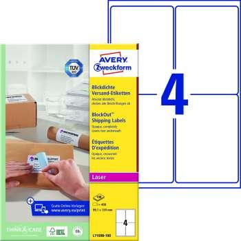Samolepicí adresní krycí etikety Avery - 99,1 x 139 mm, 400 ks