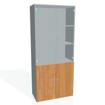 Policová skříň Drive, plné a prosklené dveře