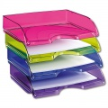 Zásuvka na šířku CepPro Happy - A4, plastová, fialová