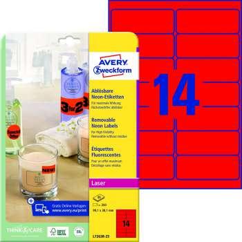 Samolepicí snímatelné neonové etikety Avery - červené 99,1 x 38,1 mm, 350 ks