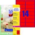 Snímatelné etikety Avery Zweckform - neon červené 99,1 x 38,1 mm, 350 ks