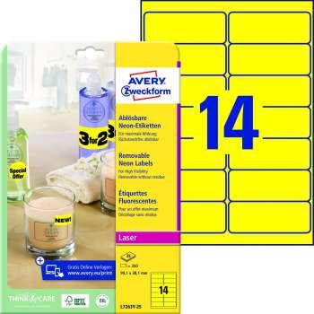 Samolepicí snímatelné neonové etikety Avery - žluté, 99,1 x 38,1 mm, 350 ks