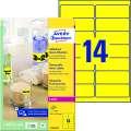 Samolepicí snímatelné neonové etikety Avery Zweckform - žlutá, 99,1 x 38,1 mm, 350 ks