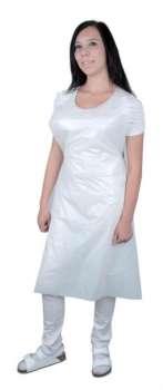 Ochranná zástěra - plastová, jednorázová, bílá, 100 ks