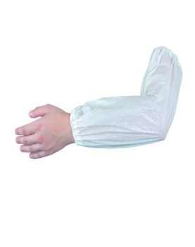 Ochranný rukávník - plastový, jednorázový, bílý, 100 ks