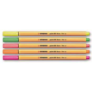 Liner Stabilo Point 88 Neon - 5 barev, 0,4 mm