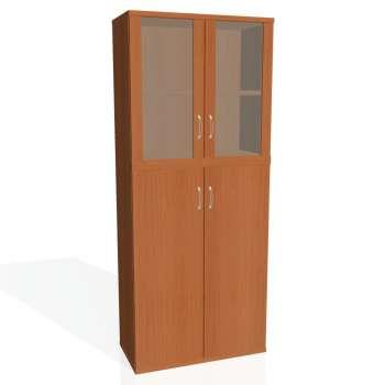 Policová skříň Strong, plné a prosklené dveře