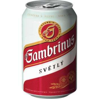 Pivo Gambrinus 10° - plech, 24 x 0,33 l