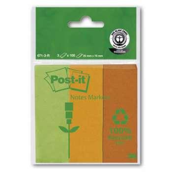 Značkovací lístečky Post-it Eco - recyklované, 3 barvy, 3 x 100 ks