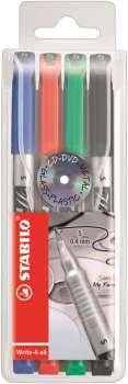 Popisovač Stabilo write-4-all - sada 4 barev, 0,4 mm