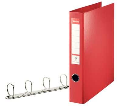 Plastový pořadač čtyřkroužkový Esselte 5,8 cm červená