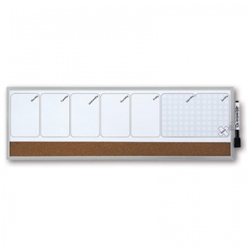 Magnetická a korková plánovací tabule Rexel  - 58,5 x 19 cm, kombinovaná