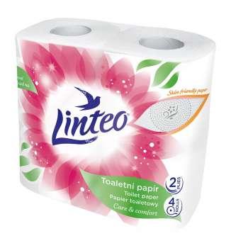 Toaletní papír Linteo Satin - dvouvrstvý, bílý s potiskem, 4 role