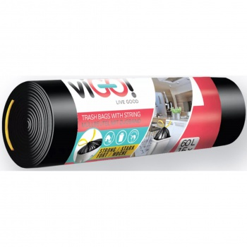 Pytle na odpadky se zatahovací páskou - 60 l, 15 ks, 20 mic