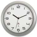 Nástěnné rádiové hodiny Alba - plastové, průměr 30 cm, stříbrné