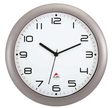 Nástěnné hodiny Alba - plastové, průměr 30 cm, stříbrné