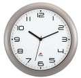 Nástěnné hodiny Standard - plastové, průměr 30 cm, stříbrné