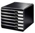 Zásuvkový box LEITZ Allura - A4+, 6 zásuvek, plastový, černý