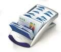 Stolní vizitkář Durable Visifix s pouzdry, stříbrný/modrý