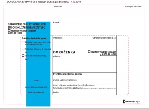 Obálky B6 - Doručenka o správním řízení - modrá, samolepicí, 100 ks