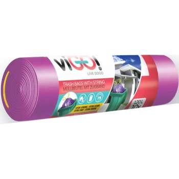 Pytle na odpadky se zatahovací páskou - 120 l, 10 ks, 35 mic