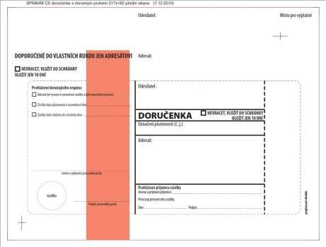 Obálky C5 - Doručenka o správním řízení - červená, s krycí páskou, 100 ks