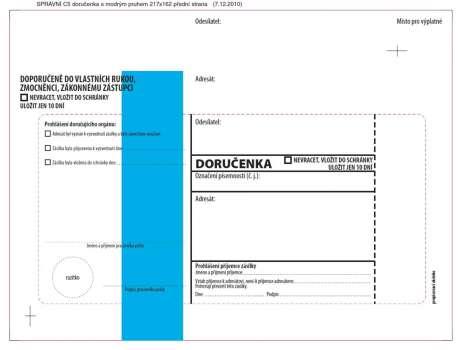 Obálky C5 - Doručenka o správním řízení - modrá, s krycí páskou, 100 ks