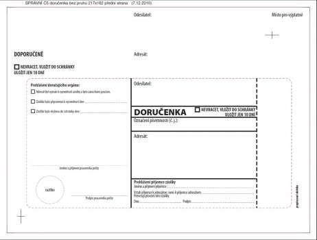 Obálky C5 - Doručenka o správním řízení - bílá, s krycí páskou, 100 ks